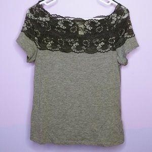 H&M Gray Lace Top Shirt
